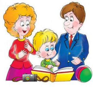 1346322791_32946-Clipart-Illustration-Of-A-Proud-Mother-And-Father-Looking-At-A-Family-Photo-Album-With-Their-Son